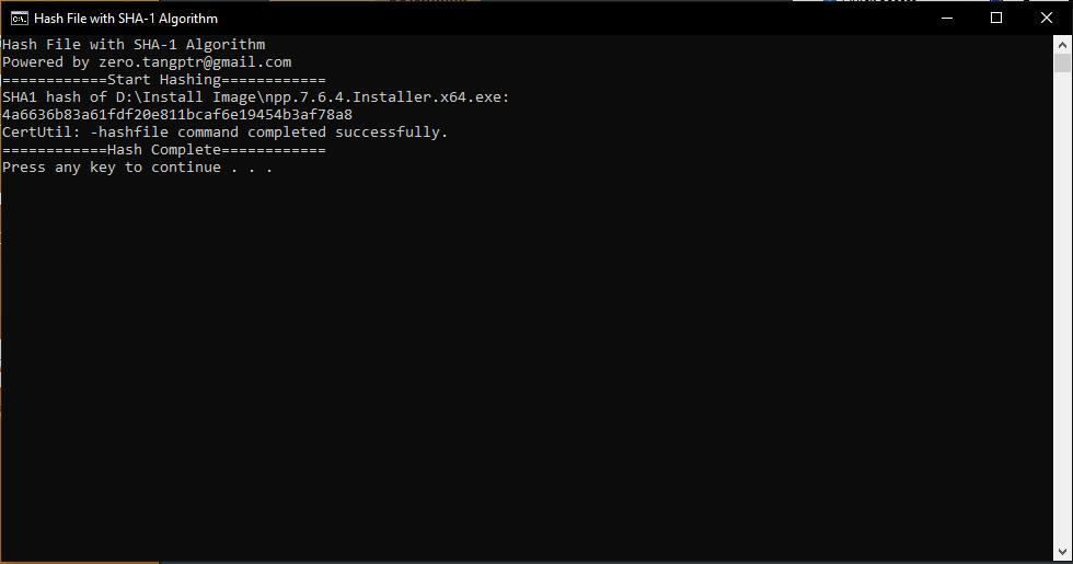 A simple method to hash file under Windows NT6 | Zero's Blog